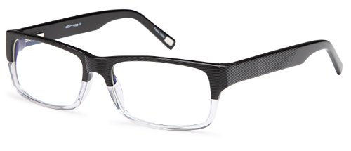 Mens Unique Prescription Eyeglasses Frames Rxable 56-17-140-34 in Half Black Crystal