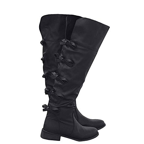 (Syktkmx Womens Cuff Knee High Boots Winter Leather Chunky Flat Low Heel Tie Knot Boots)