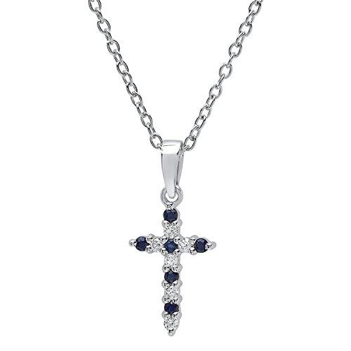 Dazzlingrock Collection 14K Round Blue Sapphire & White Diamond Ladies Cross Pendant, White Gold