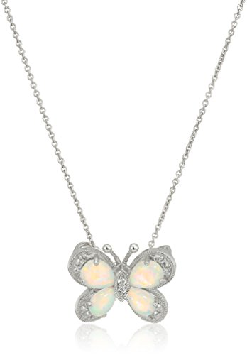 Jewelili Sterling Silver Created White Sapphire with Created Opal Butterfly Pendant Necklace, - Opal Pendant Butterfly