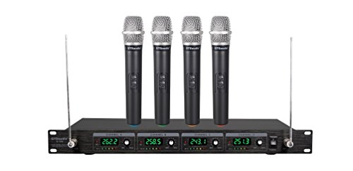 GTD Audio G-380H VHF Wireless Microphone System with 4 Hand held mics by GTD Audio