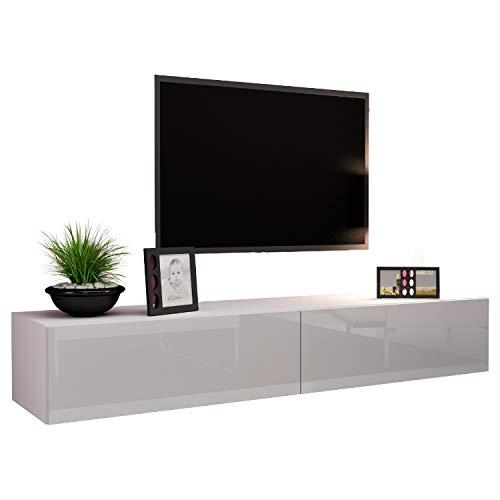 Jadella TV Board Lowboard Migo Hängeschrank Wohnwand 180cm (Weiß Matt/Weiß Hochglanz)