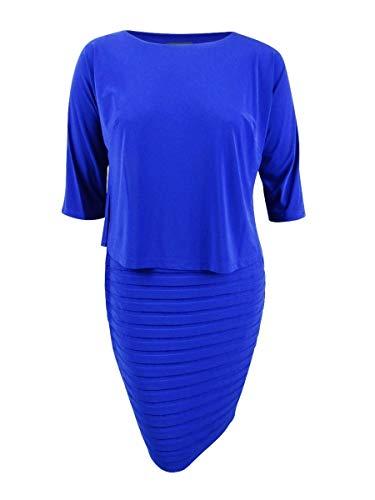 Adrianna Papell Women's Plus Size Shutter Pleat Popover Sheath Dress, Sapphire, 14W
