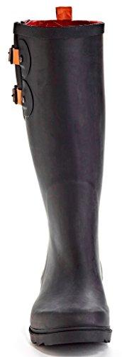 Henry Ferrera Black Stone Bottes De Pluie Imperméables Pour Femmes Matte Black