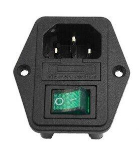 URBEST® Black Green Plastic Housing IEC320 C14 Power Socket 3 P w Fuse - Green C14