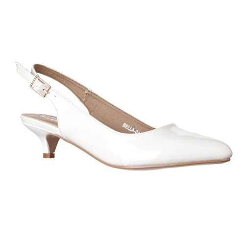 (Riverberry Women's Bella Pointed Toe Sling Back Low-Height Pump Heels, White Patent, 10)