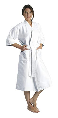 Chamois Microfiber Kimono Hotel Robe - Lightweight Absorbent Soft Spa Bathrobe in White/OSFM by Monarch/Cypress