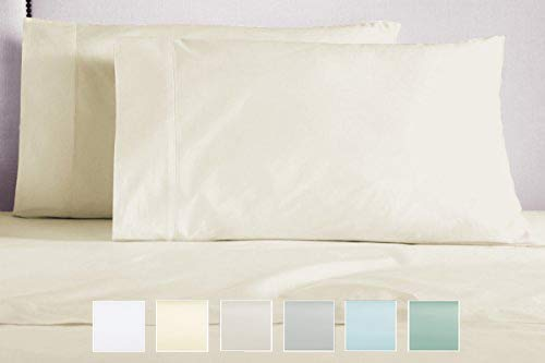 Pizuna 400 Thread Count Cotton Queen Ivory Pillow Cases, Sta
