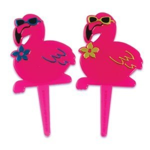 (24 ct Pink Flamingo Luau Cupcake Picks)