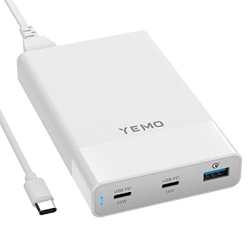 USB C Charger, YEMO Type-C Charging Station with Power Delivery Total 90W 3-Port, USB C 60W&18W PD & QC 3.0 18W Power Adapter for MacBook Pro/Air iPad Pro, Pixel, iPhone 11/Pro/Max, Galaxy and More