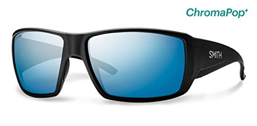 Smith Guides Choice ChromaPop+ Polarized Sunglasses, Matte Black, Blue Mirror - Glass Sun World
