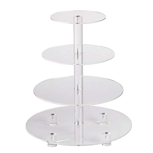 YestBuy 4 Tier Clear Round Wedding Party Acrylic Cupcake Display Tree Tower Stand 1 Unit/Pack (14 Inches)