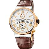 Ulysse Nardin Marine Chronometer Silver Dial Brown Leather Mens Watch 1185-122-41