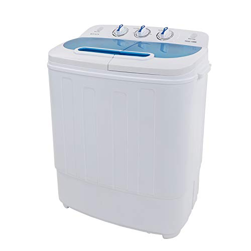 ROVSUN Portable Twin Tub Washing Machine, Electric Compact Mini Washer, 13.4LBS Capacity Energy Saving, Spin Cycle w/Hose, Great for Home RV Camping Dorms Apartments College Rooms