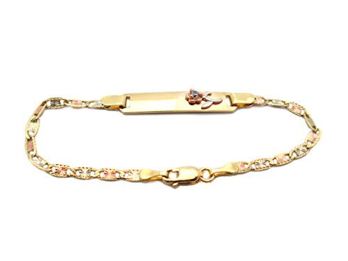 Children's Babies 10k Tri Gold Valentino link ID Bracelet 5.5 inch With Rose by US-Shopsmart
