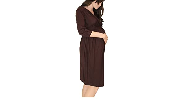 Maternidad Embarazo Color Marrón Wrap vestido Día Noche Oficina Smart: Amazon.es: Ropa y accesorios