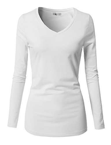 H2H Women Cotton Spandex Long Sleeve Scoop Neck Shirt Top White US M/Asia M (CWTTL0250)