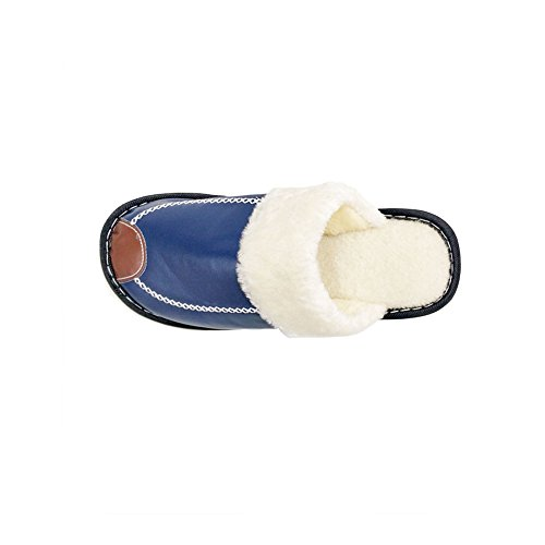 Cozy Women's Lined Blue amp;Outdoor Foam HRFEER House Men Slippers Anti Slipper Fluffy Faux Fur Skid Memory Indoor RfqxFUH
