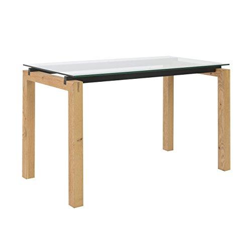 Eurø Style Ballard Wood Rectangle Desk with Clear Glass Top, Oak Finish