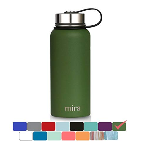 MIRA 32 Oz Stainless Steel Vacuum Insulated Wide Mouth Water Bottle | Thermos Keeps Cold for 24 Hours, Hot for 12 Hours | Double Wall Powder Coated Travel Flask | Olive Green by MIRA