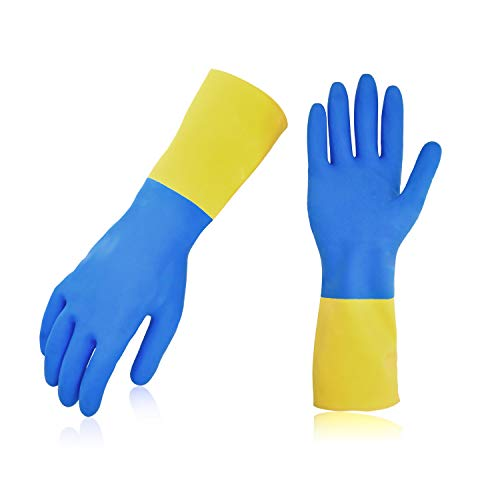 Vgo 10Pairs Long Sleeve Rubber Gloves, Working, Household, Painting, Gardening, Pet Care Gloves (Size M, Blue, RB2140)