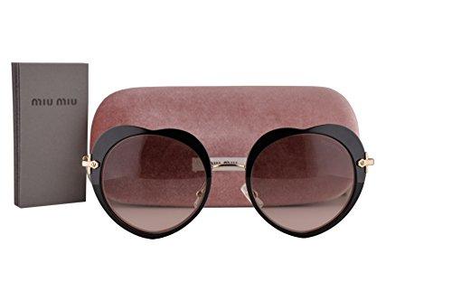 Miu Miu MU54RS Sunglasses Black w/Pink Gradient Gray Lens 1AB4K0 SMU 54R (Miu Sunglasses Miu Gray)