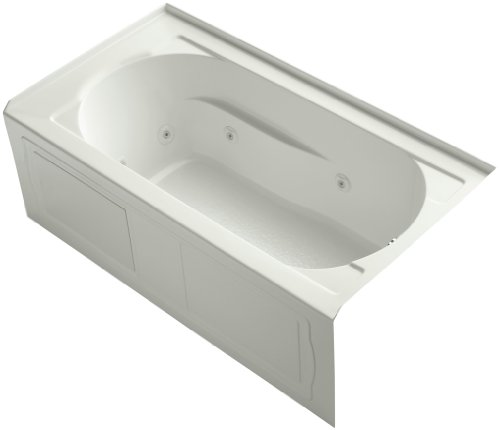 KOHLER K-1357-HR-NY Devonshire 60-Inch x 32-Inch Alcove Whirlpool with Heater, Integral Apron, Tile Flange and Right-Hand Drain, Dune ()