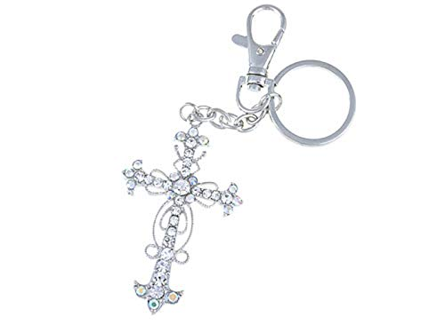 Alilang Aurora Borealis Crystal Rhinestone Holy God Blessed Floral Cross Hook Key Chain