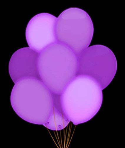 Purple Led Balloons - Fun Central AH948, 5pcs 14 Inch