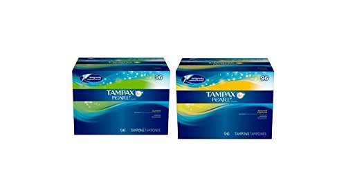 Tampax Pearl Unscented Tampons Combo Pack, 96 Super Absorbency and 96 count Regular Absorbency by Tampax