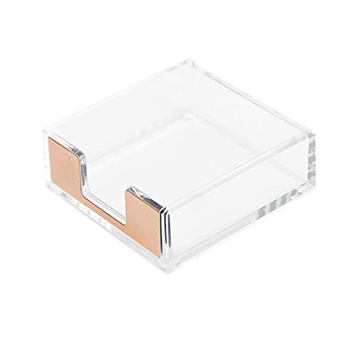 - Clear Acrylic Gold Self Stick Memo Pad Holder 5mm Super Thick Notes Cards Cube Dispenser Case 3.5x3.3 Inch for Office Home School Elegant Desk Accessory (Gold Tone)