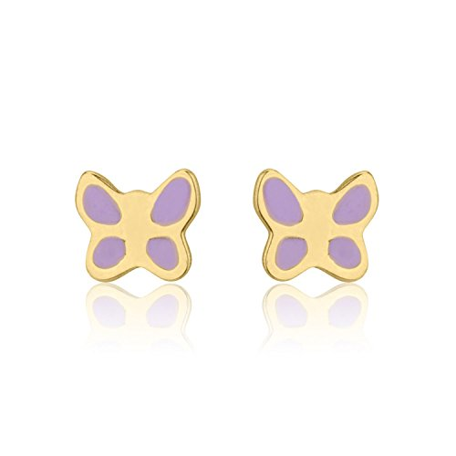 Yellow Gold Enamel Butterfly Earrings - 14K Fine Yellow Gold Enamel Butterfly Screw Back Stud Earrings for Girls Kids Gift Children