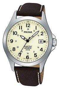 Pulsar Men's Kinetic Cream Dial Brown Strap Watch PAR167X1