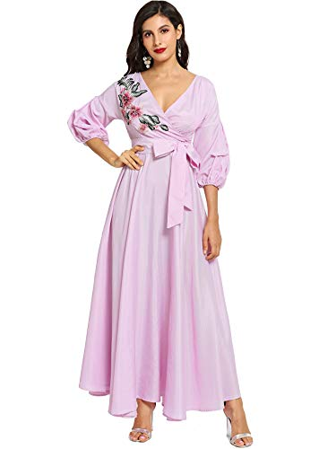 - Milumia Women Fit and Flare Classic Vintage Striped Dress 3 4 Sleeves Party Floral Dresses Violet S US 10
