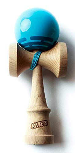 Sweets Kendamas Radar Prime Kendama - Sticky Paint, Perfect for Beginners, Extra String Accessory Bundle (Blue) by Sweets Kendamas (Image #2)