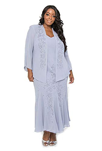 R&M Richards Long Formal Mother of The Bride Plus Size Dress Made in USA  (16W, Periwinkle)