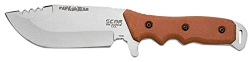 - SCAR BLADES Papa Bear Knife, Powdercoat Gray/Brown/Black