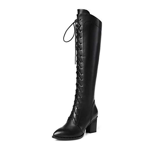 Bottes Lacets Genou Plates Du Au Bloc Chaussures Black Talon Cuissardes Dessus Femmes Bx8qUzSz