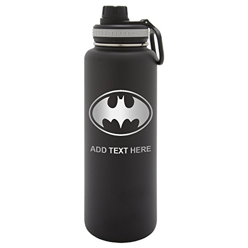 Army Force Gear Personalized Batman Symbol Engraved Laser Thermoflask Leak Proof Insulated Stainless Steel Workout Sports Water Bottle Tumbler, 32 Oz, Black