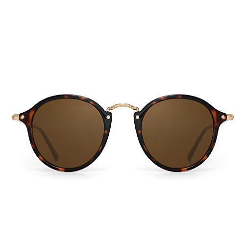 PANNER Retro Polarized Round Sunglasses Small Mirror Circle Lens for Men Women(Tortoise Frame/Brown Glass ()