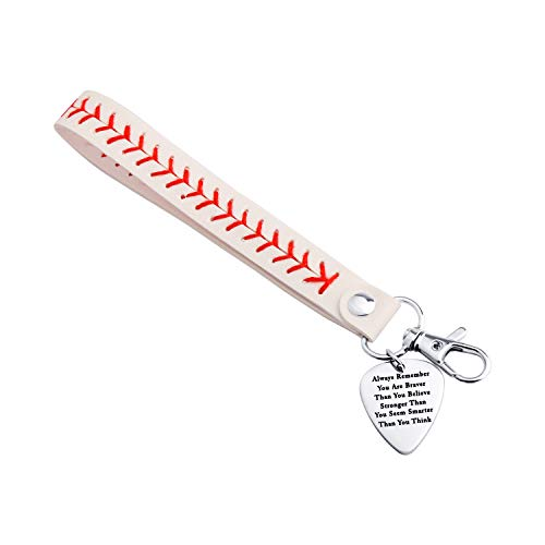 (White Yellow Leather Baseball Bracelet Keychain Jewelry Always Remember You are Braver IGft (White Keychain))