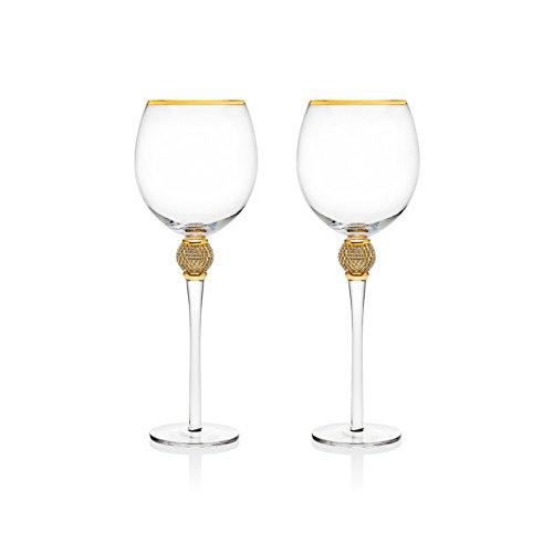 Trinkware Set of 2 Red Wine Glasses - Rhinestone