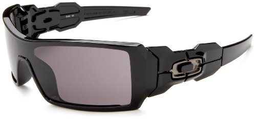 Oakley Men's Oil Rig Sunglasses,Polished Black Frame/Warm Grey Lens,one size