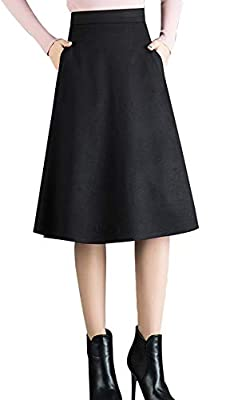 chouyatou Women's High Waist A-Line Swing Solid/Plaid Midi Wool Skater Skirt Hand Pocket