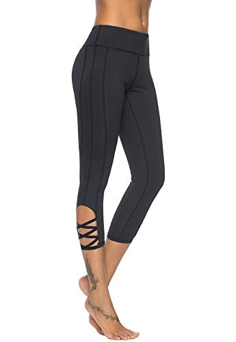 Mint Lilac Women's High Waist Capri Workout Yoga Pants Athletic Tummy Control Leggings with Straps Large Black