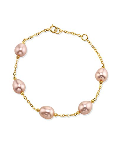 THE PEARL SOURCE 14K Gold 7-8mm Drop-Shape Pink Freshwater Cultured Pearl Emily Tincup Bracelet for Women