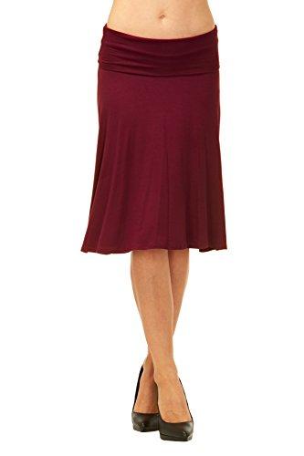 Soft Stretch Skirt - Red Hanger Womens Basic Solid Stretch Fold-Over Flare Midi Skirt (Burgundy-L)