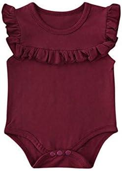 LIXIUQING Sommerkleidung Mädchen Kleidung Lotusblatt ärmellose Bodysuit einfarbige Jumpsuit Jumpsuit Anzug Sonnenschutzkleidung