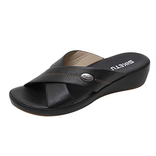 Haalife◕‿¿Men Arch Support flip Flop for Mens Leather Flip Flops Sandals Waterproof Comfort Summer