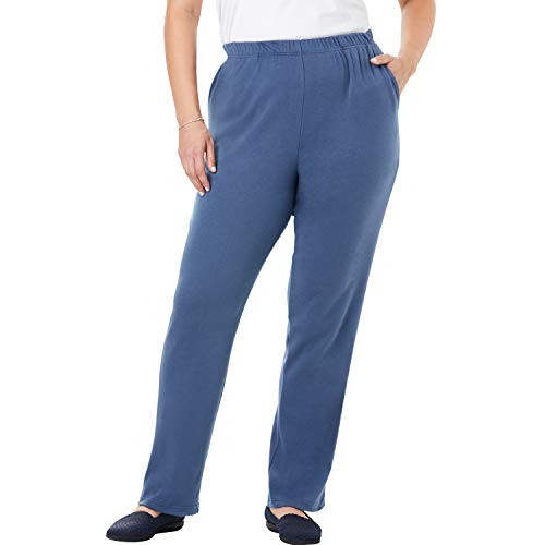 (Woman Within Women's Plus Size 7-Day Knit Straight Leg Pant - Light Indigo, 2X )